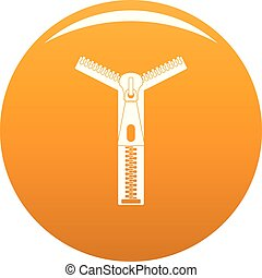 Opened zip icon vector orange