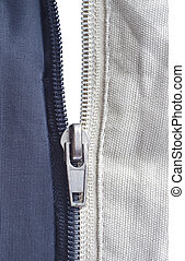 Opened zipper revealing a white background.