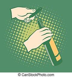 Opener bottles, hand holds corkscrew.