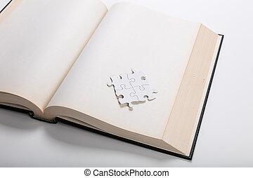 opengeslagen boek, en, raadsel