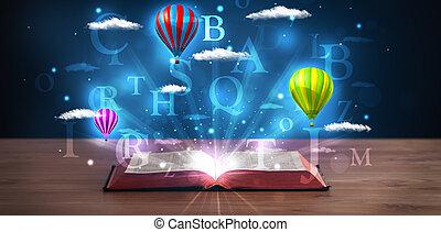 opengeslagen boek, met, gloeiend, fantasie, abstract, wolken, en, ballons
