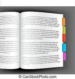 opengeslagen boek, met, kleurrijke, bookmarks