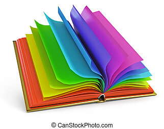opengeslagen boek, met, kleurrijke, pagina's