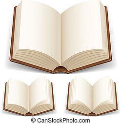 opengeslagen boek, met, witte pagina's