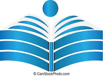 opengeslagen boek, ontwerp, logo