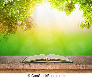 opengeslagen boek, op, houtenvloer, met, blad