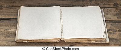 opengeslagen boek, oud, achtergrond, hout, leeg