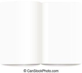 opengeslagen boek, pagina, template., gereed, voor, een,...