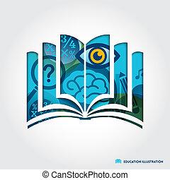 opengeslagen boek, symbool, opleiding, concept, illustratie
