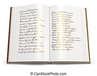 opengeslagen boek, van, poems
