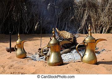 openhaard, en, arabische koffie, potten, in, abu dhabi, verenigde arabische emiraten