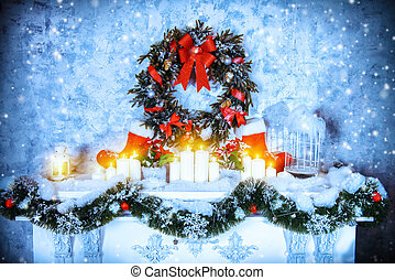 openhaard, kerstmis