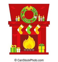 openhaard, kerstmis, scene.