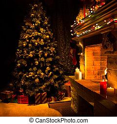 openhaard, verfraaide, atmosferisch, kerstboom