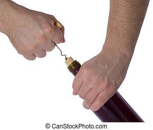 Opening a corkscrew bottle of wine