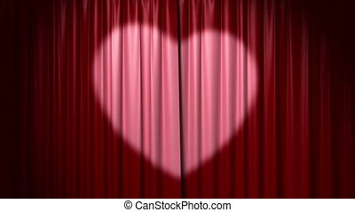 Opening and closing curtain with heart, 3d animation with ...
