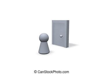 door - opening and closing door and play figure