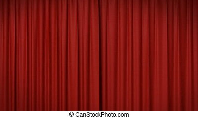 Opening and closing red curtain 3d animation