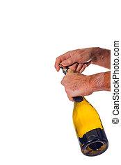 Opening bottle of wine