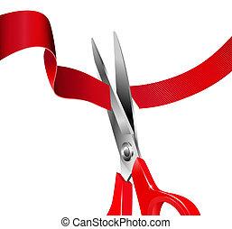 Close up of scissors cutting a red ribbon