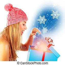 Opening Christmas gift