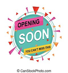 Opening Coming Soon Banner Poster Badge Design Element