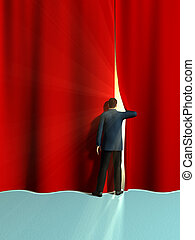 Opening curtains - Businessman opening some big red...