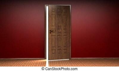 Opening door to white background