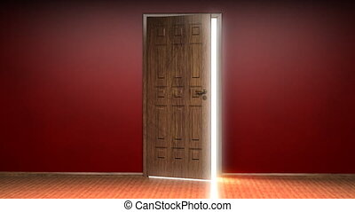 Opening door to white background