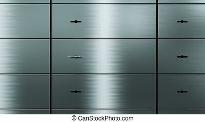 opening empty safety deposit box, 3d animation