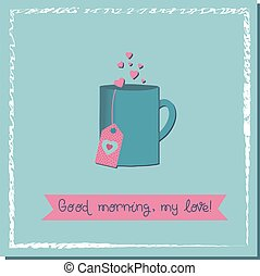Opening for lovers. Cup of love drink. Valentine's day poster square. Vector illustration