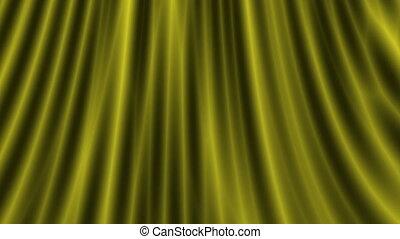 Opening gold silk curtain, hd