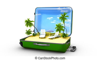 Opening green bag with animated palms and water