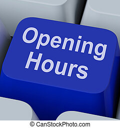 Opening Hours Key Shows Retail Business Open - Opening Hours...