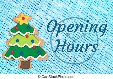 Opening hours sign with gingerbread Christmas tree