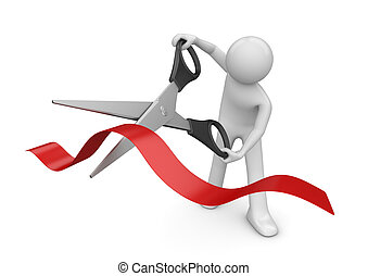 Opening: man cutting red stripe with scissors - 3d isolated ...