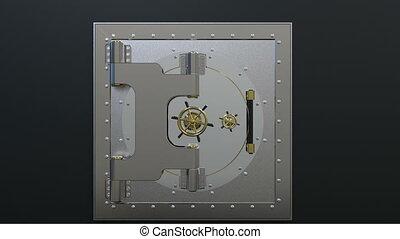 Opening of the vault door. 3D render