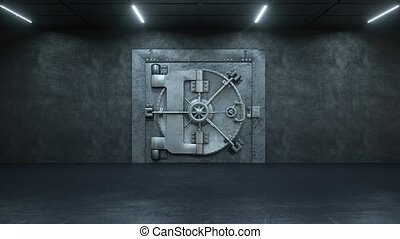Opening Of The Vault Door In Bank on a white background