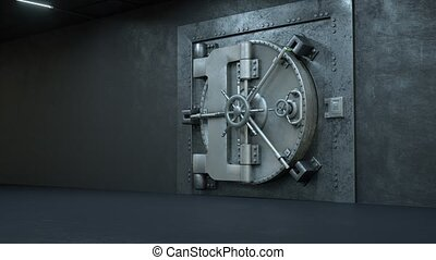 Opening Of The Vault Door In Bank with a lot of money on a green background