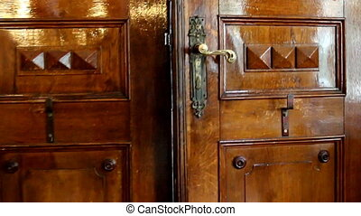 Opening old vintage door - Old wooden vintage door with...