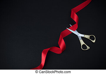 opening., ouro, topo, experiência., corte, preto vermelho, grandioso, tesouras, fita, vista