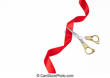 opening., ouro, wite, topo, experiência., corte, vermelho, grandioso, tesouras, fita, vista