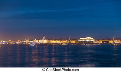 Opening Palace Bridge timelapse, a lot ships and boats. Russia, Saint-Petersburg
