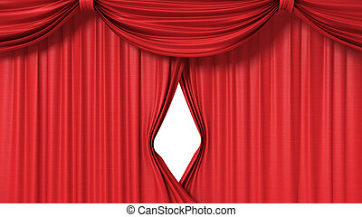 opening red curtain, 3d