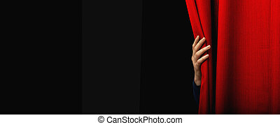 Girl open a red curtain