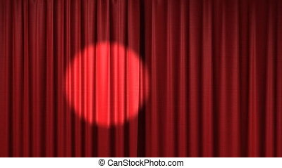 opening red theatrical curtain with spotlight