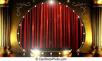opening red curtain stage with gold