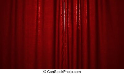 opening red textile curtain
