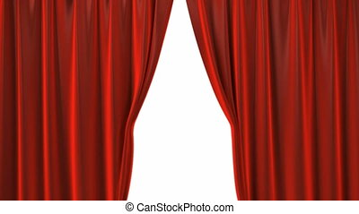 Opening red theatre velvet curtains. The Alpha Channel is included.