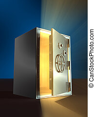 Opening safe - Warm light coming from inside an open safe. ...